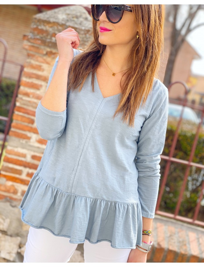 Camiseta volante azul grisaceo