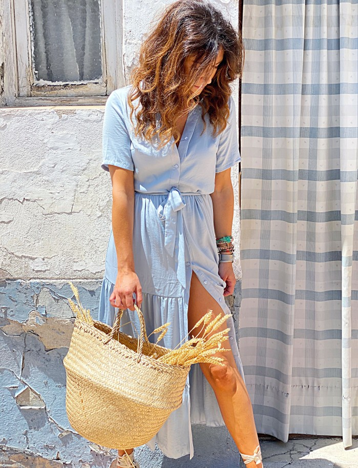 Vestido saten azul