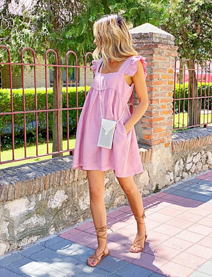 Vestido lino volantes rosa