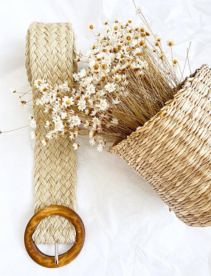 Cinturon cuerda hebilla madera 4