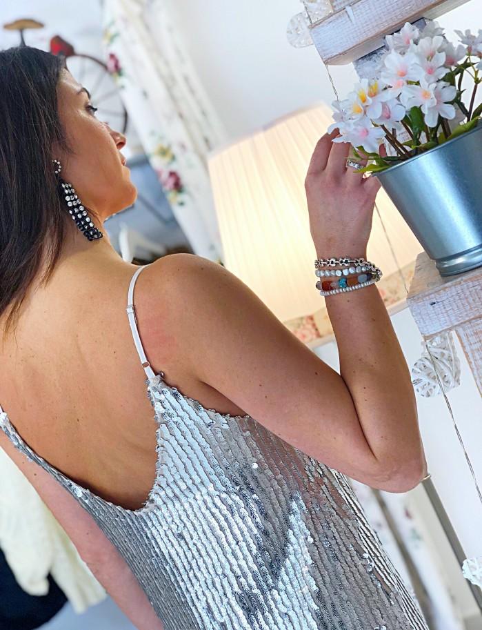 Vestido lentejuelas plata